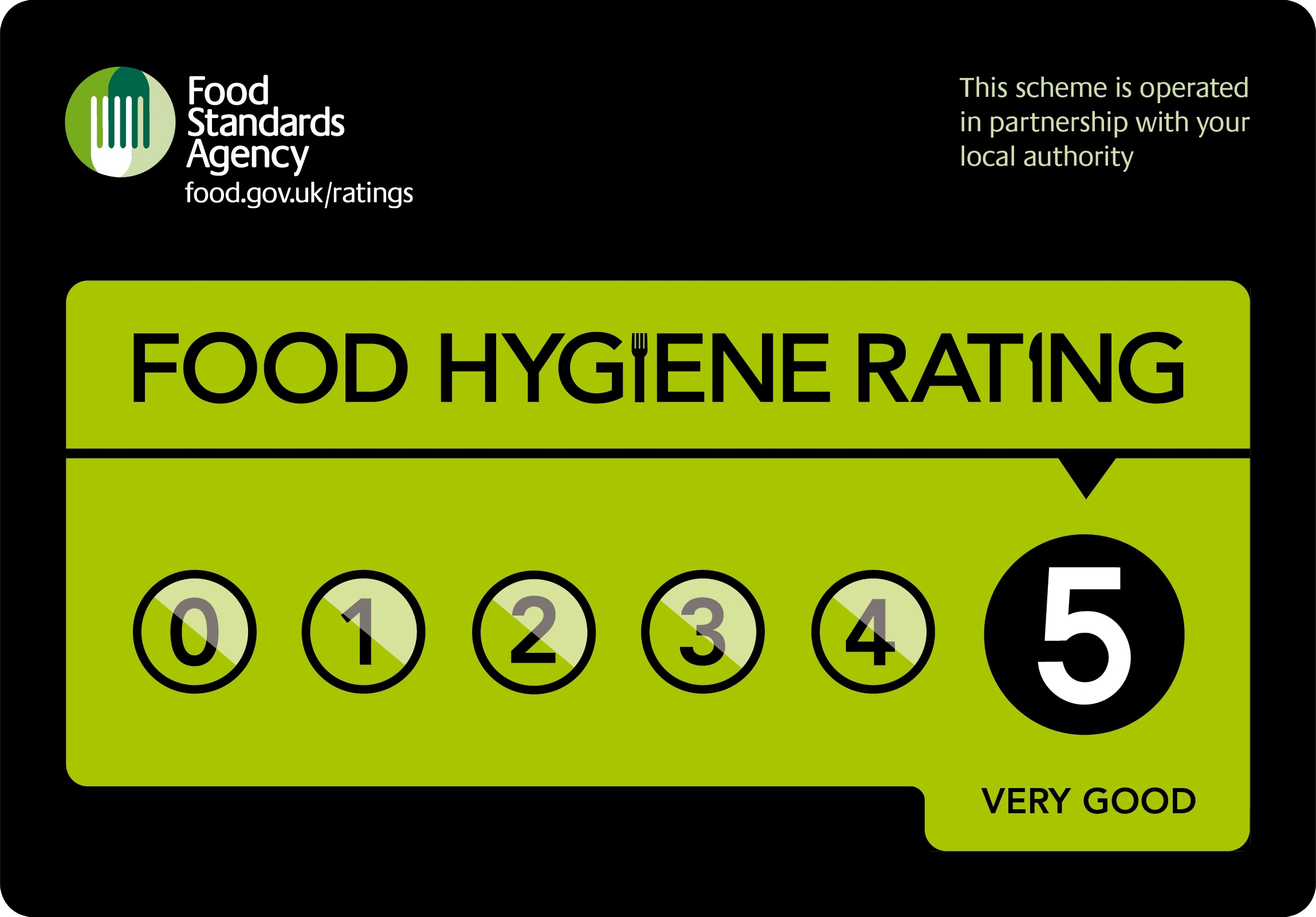 Number9 Ponteland has a 5 star food hygiene rating